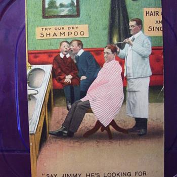 Postcard c,1912, Barber Shop & Hair singeing ,split end remedy!  Yes I did it!  - Postcards