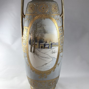 Nippon hand painting vase - Asian