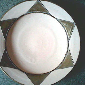 "Morrocan ""Safi"" Teracotta and Metal 13"" Plate/Unknown Age - Pottery"