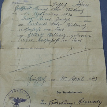 WWII Newspaper Clippings & German's Birth Certificate