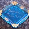 Vintage Opalescent Blue Pin Tray Souvenir Dish