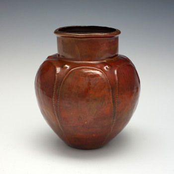 "Ludwig Vierthaler ""Eosin"" Copper Vase for Josef Winhart & Co., Circa 1902 - Art Nouveau"