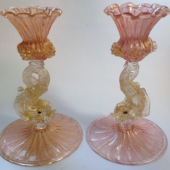Pair of Venetian glass candlesticks with dolphin stems - Art Glass