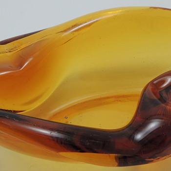 Cigar Tray or Banana Split Dish - Amber Glass - Art Glass
