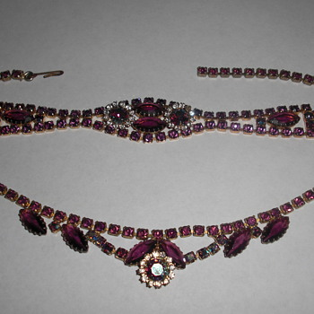 Amethyst bracelet and choker - Costume Jewelry