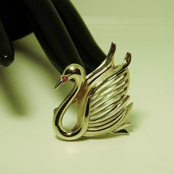 Trifari Swan Pin - Costume Jewelry