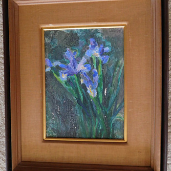 """Old Oil Painting of Iris on Canvas.  Mysterious """"Gift""""  to Esso Standard"""