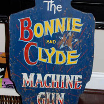 Hand Painted Bonnie & Clyde Shooting Gallery Carnival Game Sign - Signs