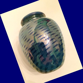Early Randy Strong Mirror/Cobalt Vase - Art Glass