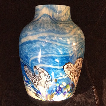 Signed Art Glass Flowered Vase- Anyone recognize it? - Art Glass