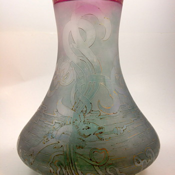 Carl Goldberg, Haida - signed acid cut back vase, ca. 1920 - Art Glass