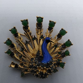 Boucher peacock brooch and earrings - Costume Jewelry