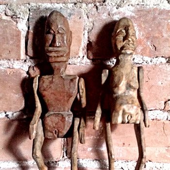 African folk art hand carved wooden limberjack man & woman  - Folk Art