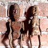 African folk art hand carved wooden limberjack man & woman