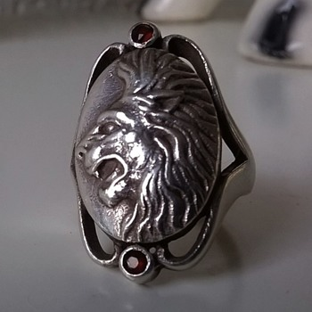 Sterling Silver & Garnet Lion's Head Ring & S.S. Pendant - Fine Jewelry