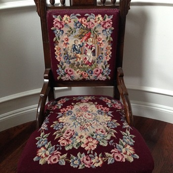Antique Chair with Embroidered Cushions - Furniture