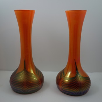 Kralik Feather Pulled art glass vases, ca. 1905 - Art Glass