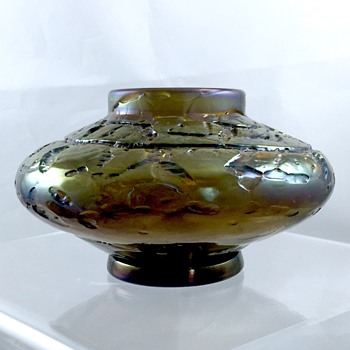 Bohemian Bronze Purple Crackle Squat Cabinet Vase Bowl  - Art Glass