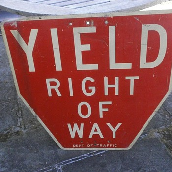 "Early New York City ""YIELD"" Sign - Signs"