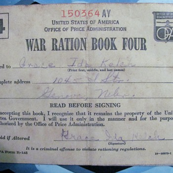 WWII Ration Book Four - Military and Wartime