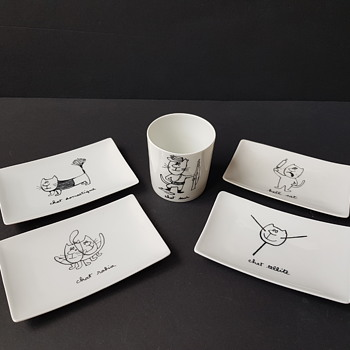 Maurice Sinet Sine Cat Cartoons - China and Dinnerware