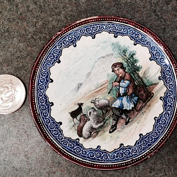 Neat small copper plate with baked in painting