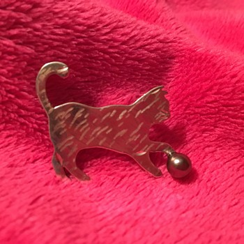 Cat at Play Silver Pin - Fine Jewelry