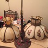 slag table lamp and ceiling light