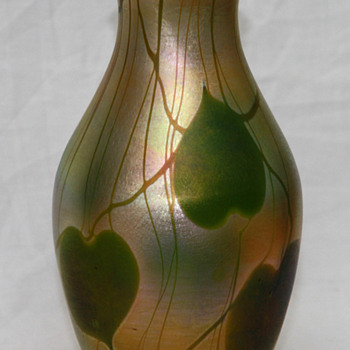Louis Comfort Tiffany Gold Favrile Leaf & Vine Vase - Art Glass