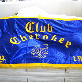 Large Vintage Cherokee Club Banner  - Advertising