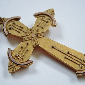 Antique Gold Crucifix with Eastlake-Like Applied Design
