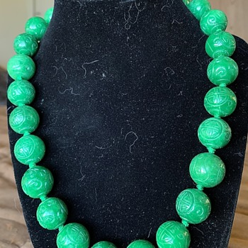 Large Green Jade Shou Bead Necklace 925 Clasp - Fine Jewelry