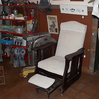 Antique Glider/Recliner w/attached footstool - Furniture