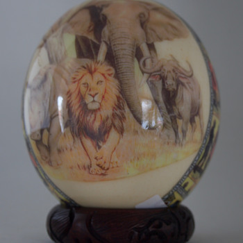 African Decoupage  Ostrich Egg - Fine Art