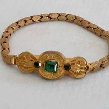 Unusual gilt and paste snake chain bracelet - Costume Jewelry