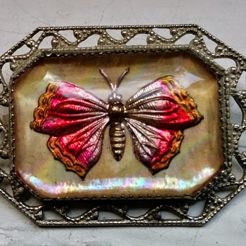 Butterfly, Flowers, and Cherries, Paperweight Brooches, Glass Intaglio and Mother-of-Pearl, Early to Mid 20th Century - Animals