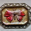 Butterfly, Flowers, and Cherries, Paperweight Brooches, Glass Intaglio and Mother-of-Pearl, Early to Mid 20th Century