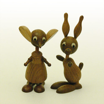 Mouse and Rabit wooden figurines (Spain, 1960s) - Toys