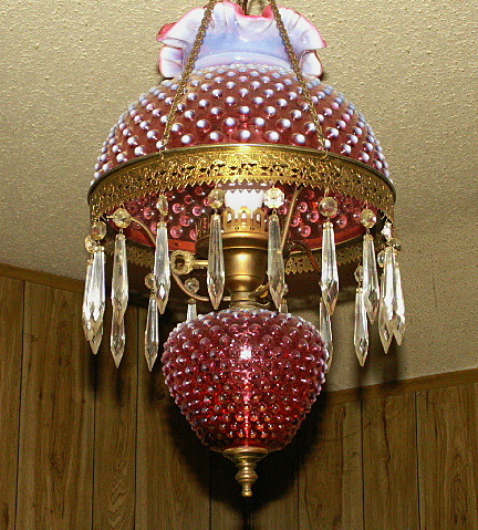 Antique cranberry hobnail hanging lamp collectors weekly