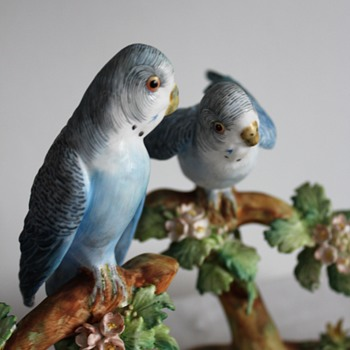 Crown Staffordshire Budgie Budgerigar By J T Jones - Rare? - Figurines