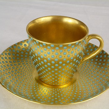 Demitasse cup & saucer gold with turquoise dots  - China and Dinnerware