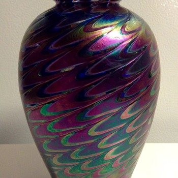Iridescent Fether Pulled Glass Vase by The Glass Eye Studio - Art Glass