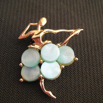 Unsigned Vintage Ballerina with lustrous blue discs  Brooch Pin - Costume Jewelry