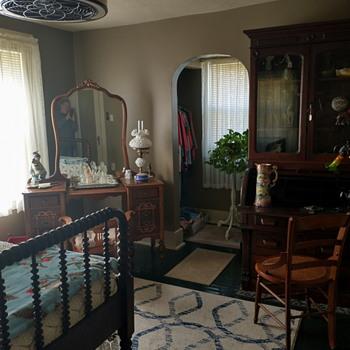 Sis's Room / Victorian Walnut Roll Top Secretary / Spindle Bed / 30's Vanity - Furniture