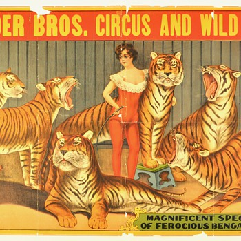 """Original 1920 """"Snyder bros. Circus and Wild West"""" Stone Lithograph Poster"""
