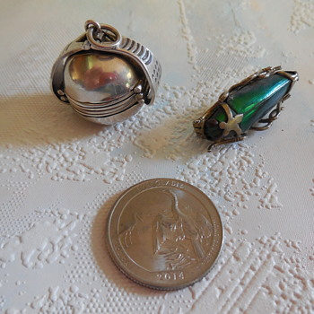 Silver Real Green Beetle Brooch and A Sterling Silver Pendant Ball Locket - Animals
