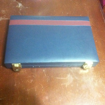 Blue navy leather backgammon case very intresting - Games