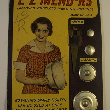 """Pot mending"" kit from mid 20th century America. - Advertising"