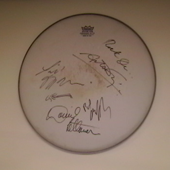"""Drumhead Autographed by David Letterman and """"The World's Most Dangerous Band""""   - Music Memorabilia"""