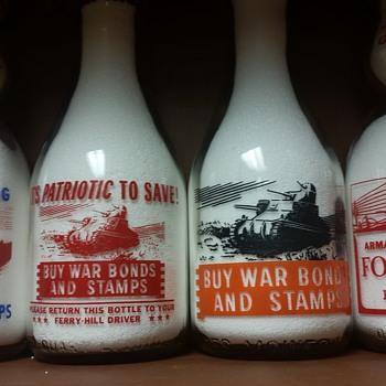 War Slogan Milk Bottles With Tank Pictures.......